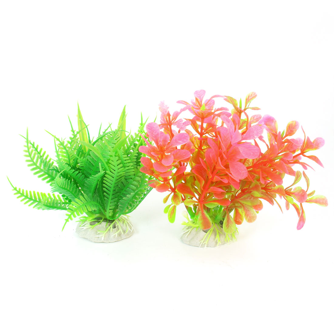 2 Pcs Green Pink Emulational Underwater Grasses Decor for Aquarium Fish Tank