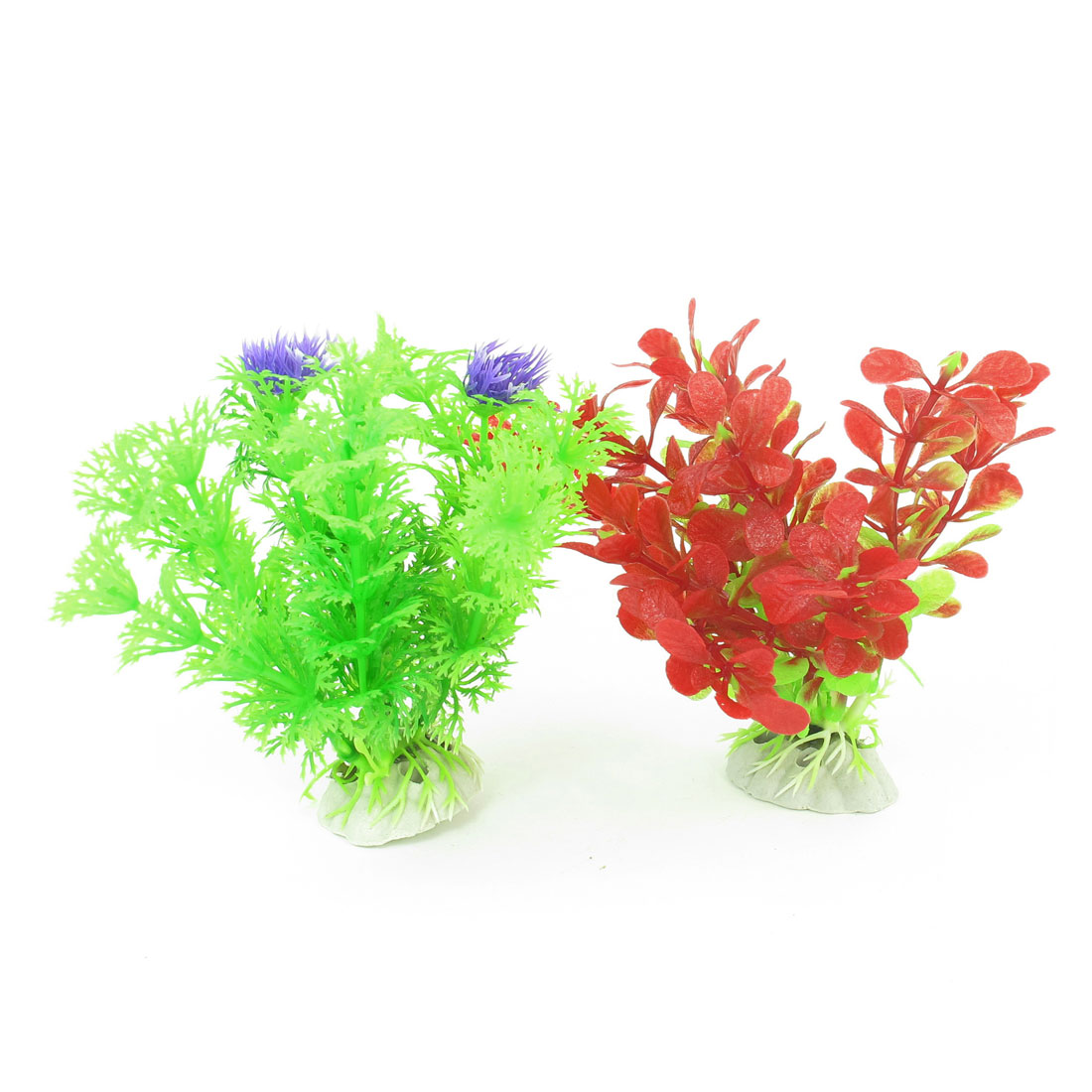 "2 Pcs Red Green Emulational Fish Tank Aquarium Grasses Decor 4.3"" High"