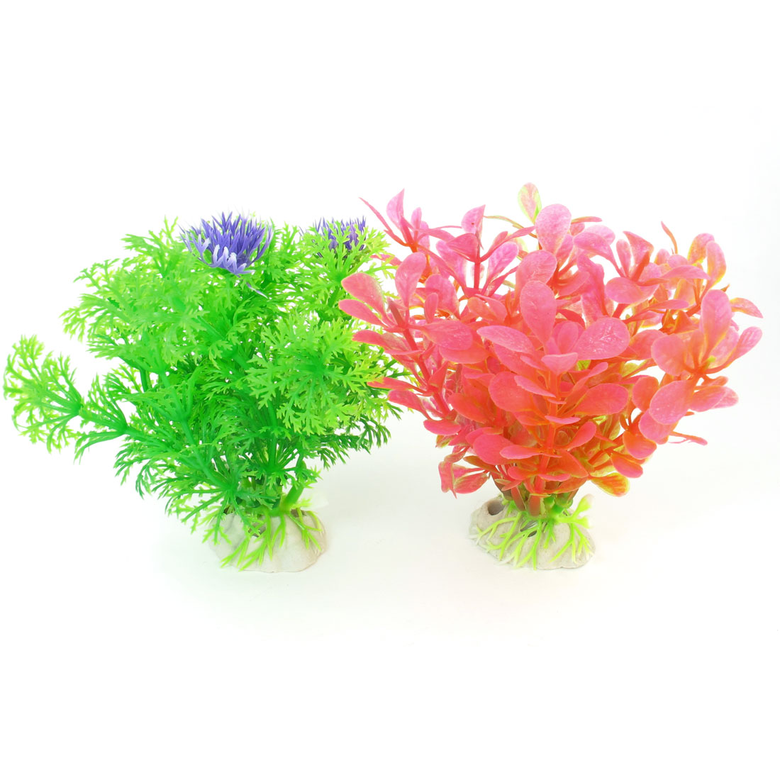 "2 Pcs 4.1"" High Light Green Pink Emulational Aquarium Fish Tank Plants Decor"