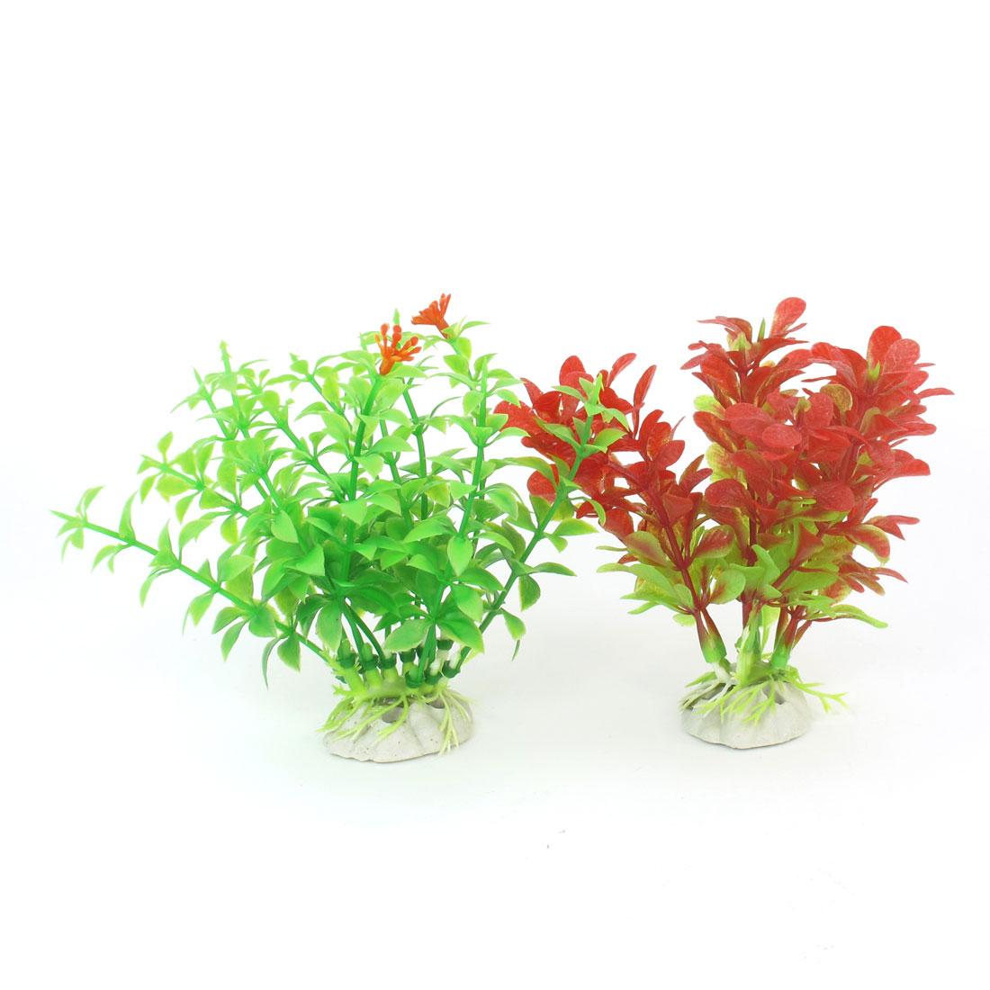 """4.5"""" Light Green Red Simulation Aquarium Aquatic Underwater Plants 2 Pcs"""