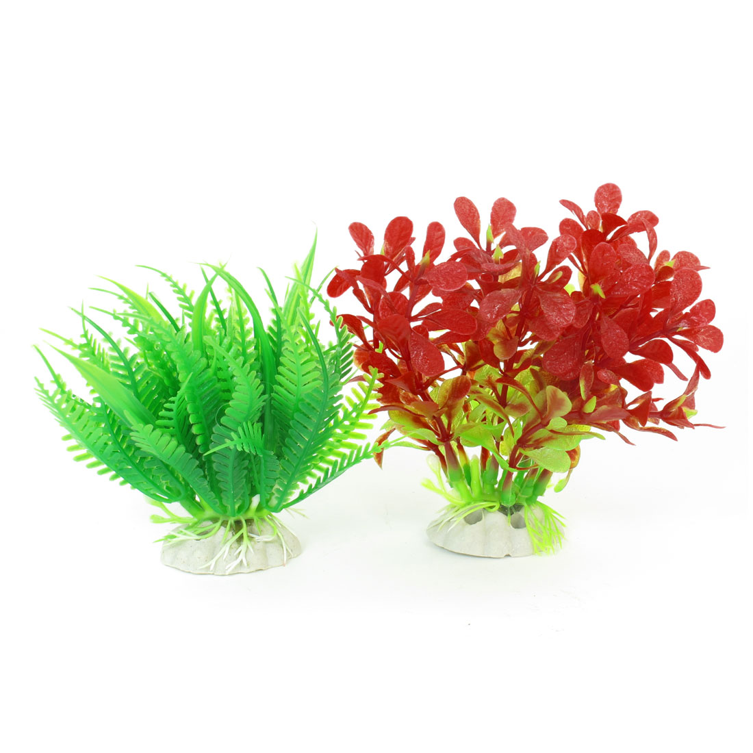 2 Pcs Red Green Simulation Aquarium Aquascaping Aquatic Plant Decor