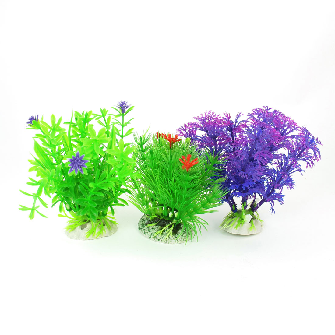 Voilet Blue Green Simulation Underwater Plants Grass for Fish Tank 3 Pcs