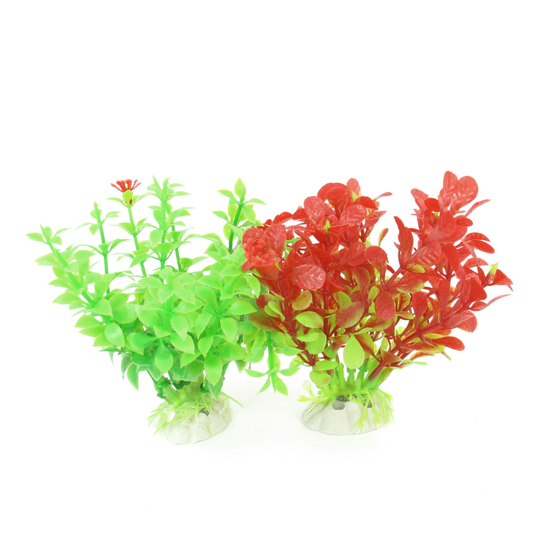 "2 Pcs Red Green Emulational Fish Tank Aquarium Grasses Decor 4.5"" High"