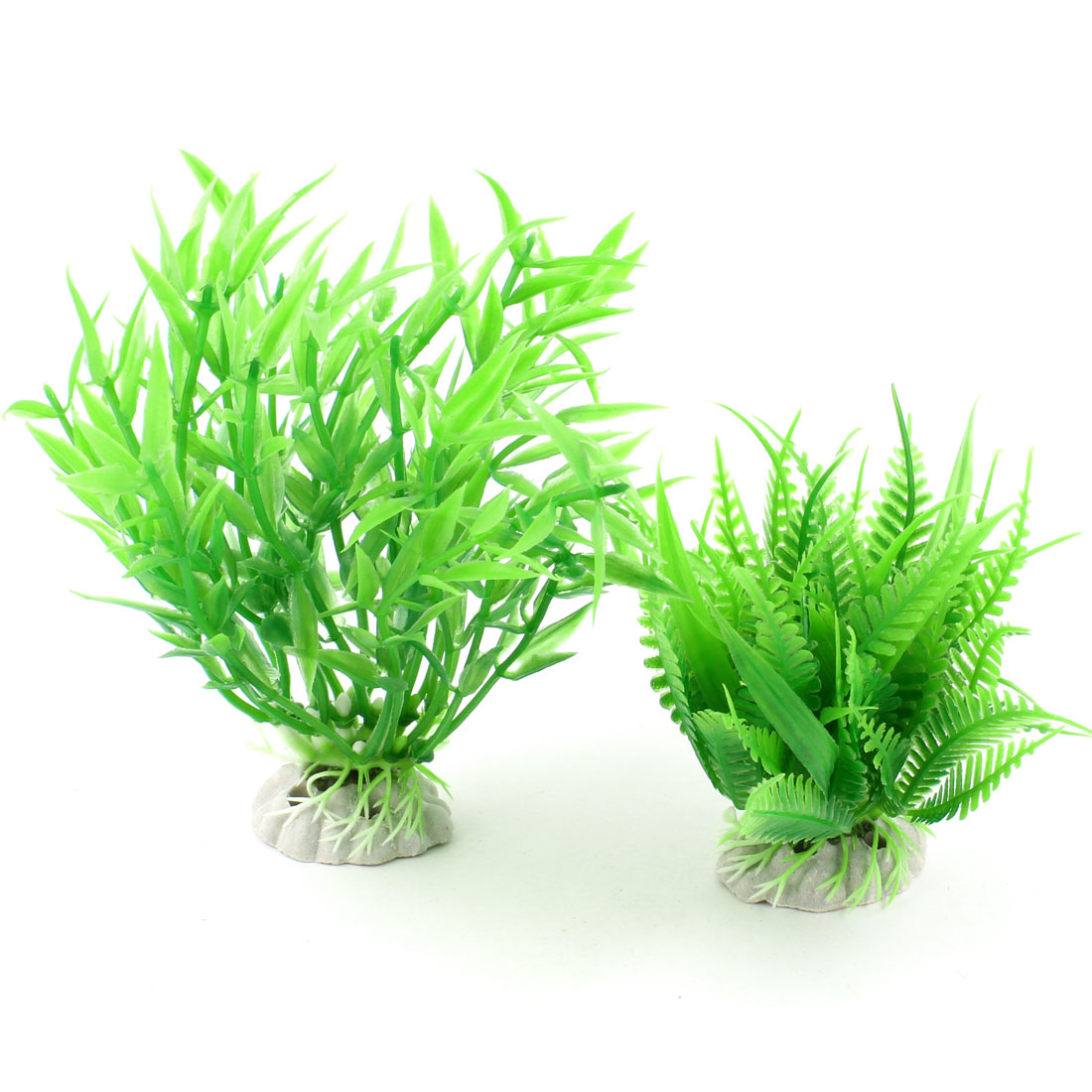 2 Pcs Green Artificial Fish Tank Underwater Grass w Ceramic Base