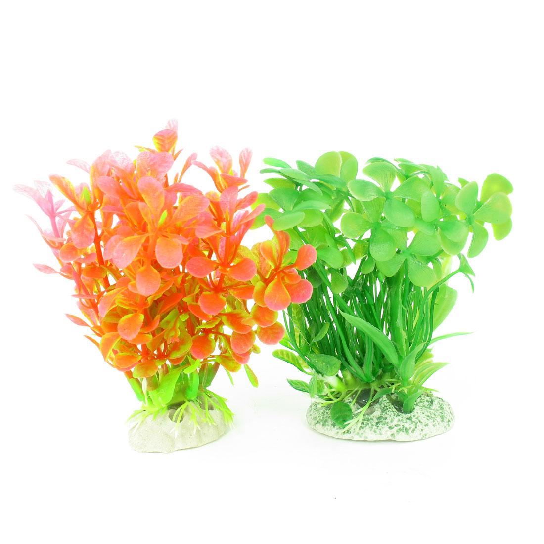 """2 Pcs Green Pink Emulational Fish Tank Aquarium Grasses Decor 4.3"""" High"""