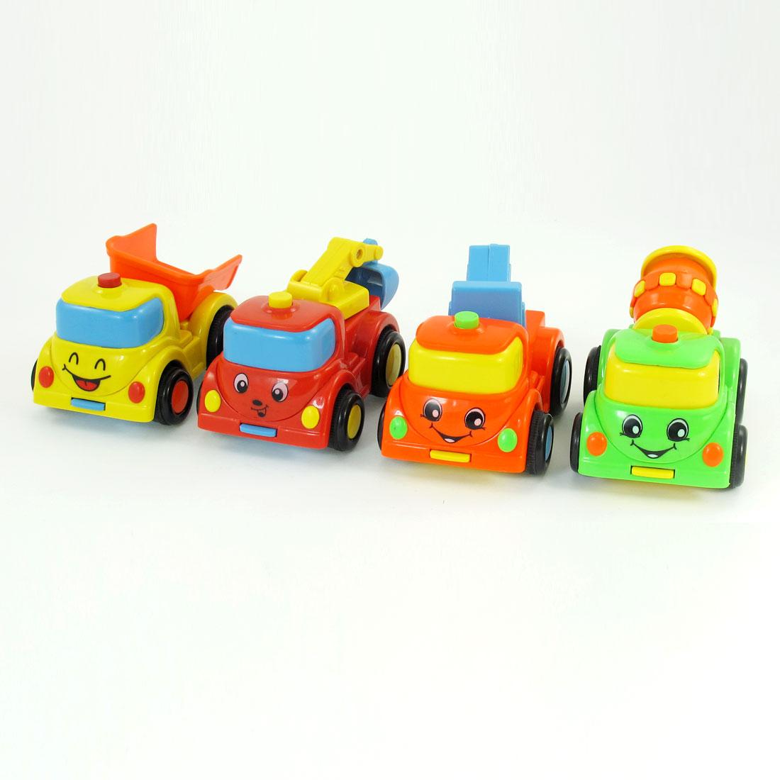 4 Pcs Green Orange Red Cement Mixer Hoist Crane Truck Model Toy for Kids