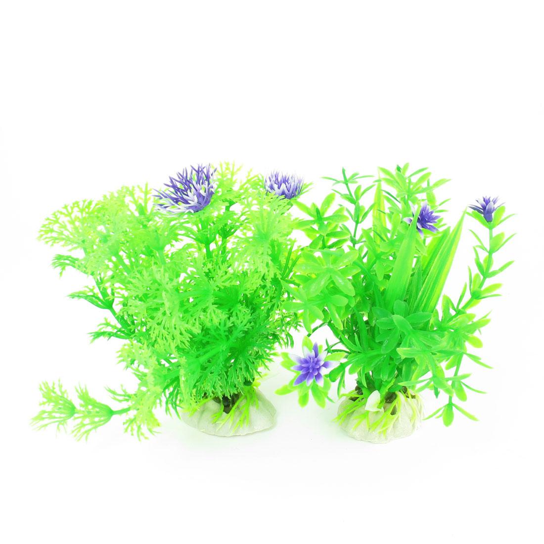 "2 Pcs Green Purple Emulational Fish Tank Aquarium Grasses Decor 4.1"" High"
