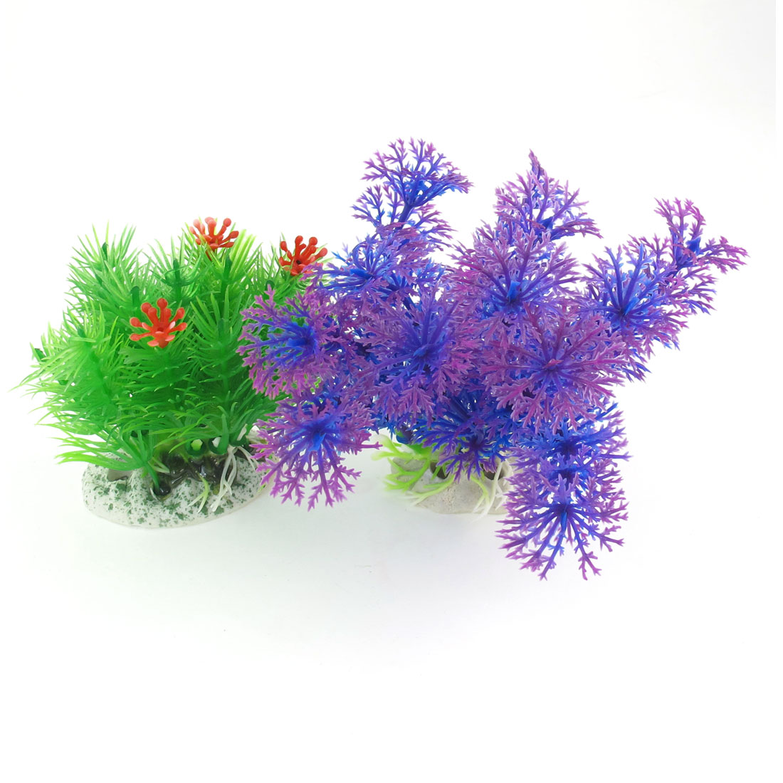 "3.5"" High Green Fuchsia Blue Simulation Aquarium Aquatic Underwater Plant 2 Pcs"