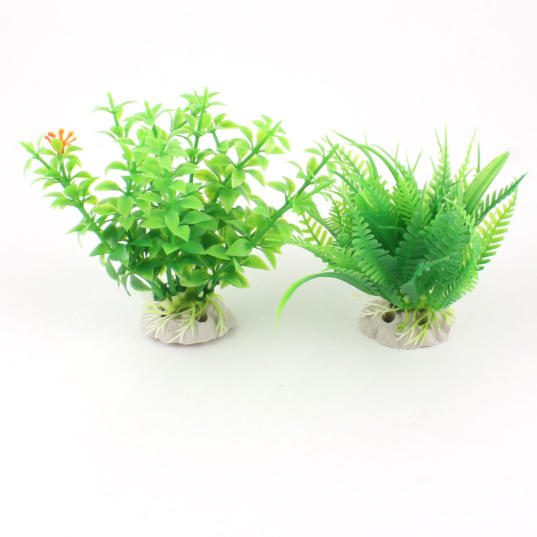 "2 Pcs 4.3"" Height Artificial Fish Tank Aquarium Plants Green w Ceramic Base"