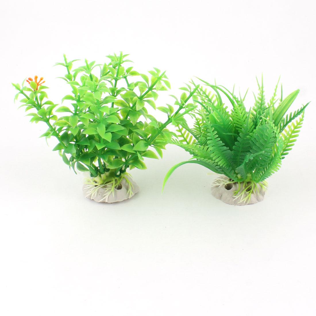 "2 Pcs 4.3"" Height Artificial Fish Tank Aquarium Plants Green w Ceramic Base"