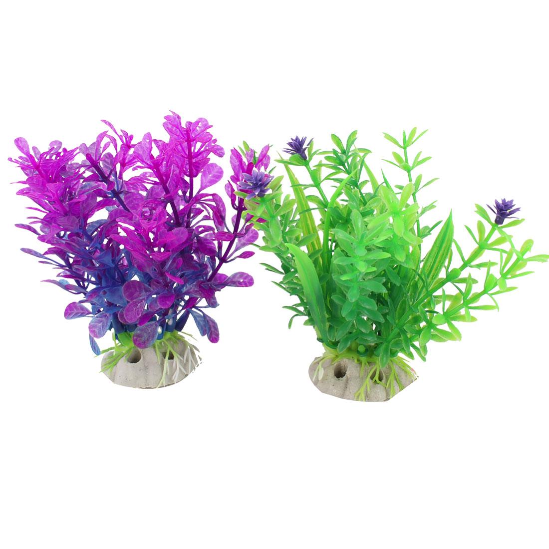 "2 Pcs 4.3"" Height Fuchsia Green Artificial Underwater Grass for Fish Tank"