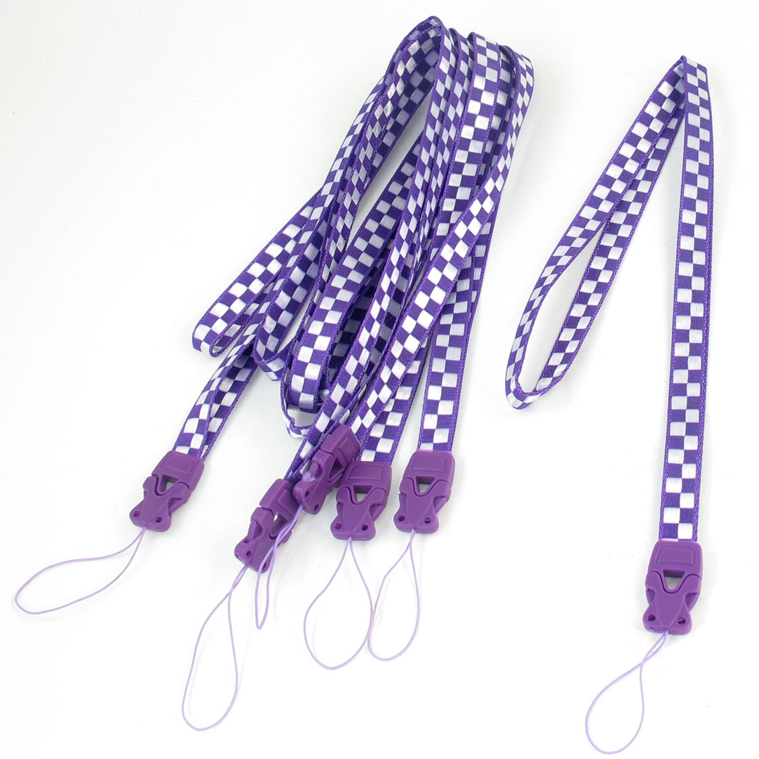 Purple White Check Print Cards Keys Keychain Neck Strap Lanyard String 6 Pcs