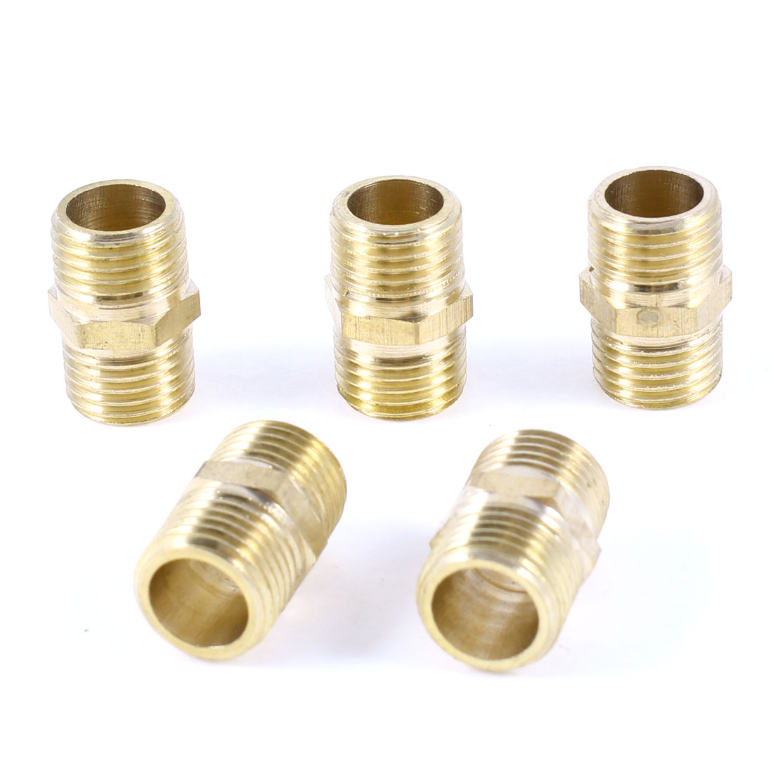 "5 Pcs 1/4""PT x 1/4""PT Male Thread Straight Hex Nipple Pipe Quick Couplers"