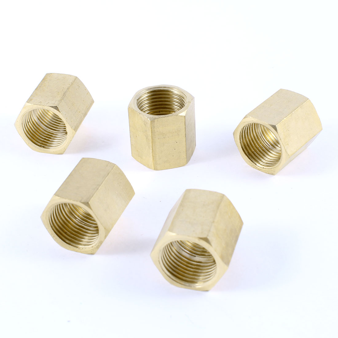 "5PCS 3/8""PT to 3/8""PT Female Thread Straight Nut Hex Rod Couplings Couplers"
