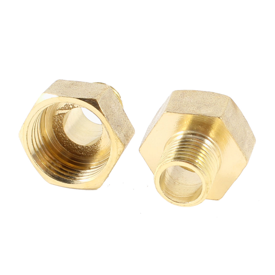 "2 Pcs 1/4""PT x 1/2"" NPT Male to Female Thread Hex Bushing Pipe Couplings Adapter"