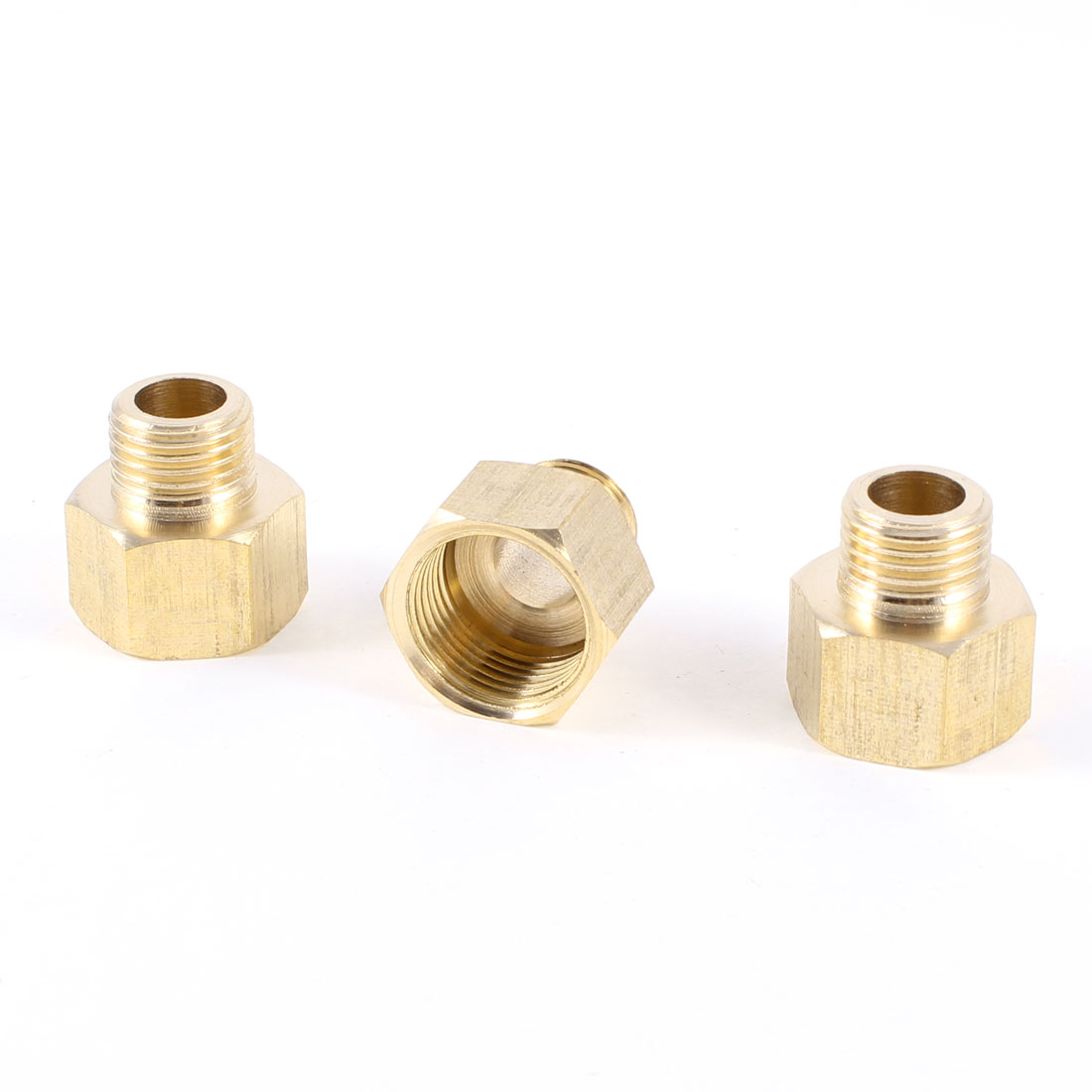 "1/4""PT to 3/8""PT Male/Female Thread Hex Nipple Straight Couplers Couplings 3 Pcs"