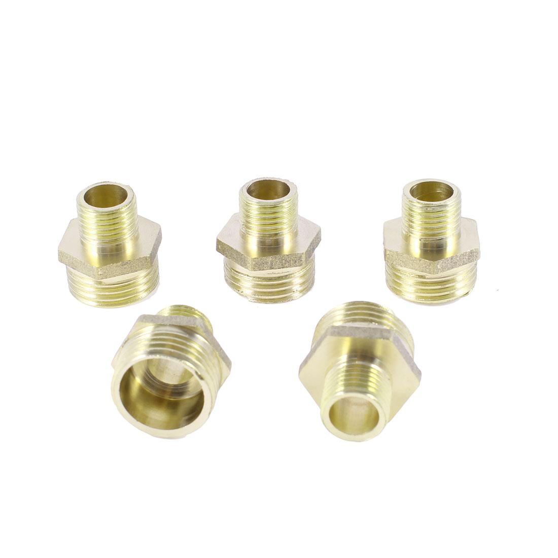 "5PCS 1/4""PT x 1/2""PT M/M Thread Pneumatic Air Hose Quick Joint Hex Nipple"