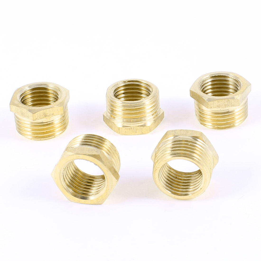 "3/8""PT to 1/4""PT Male/Female Thread Hex Nipples Pipe Connector Joints 5 Pcs"