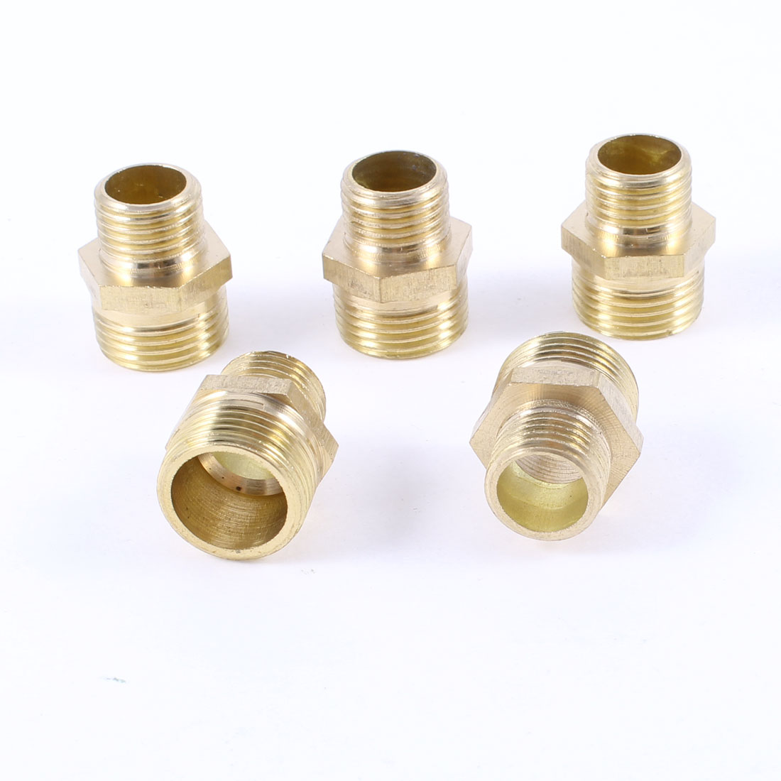 "Male to Male Thread 1/4""PT x 3/8""PT Brass Hex Nipple Quick Fittings 5 Pcs"