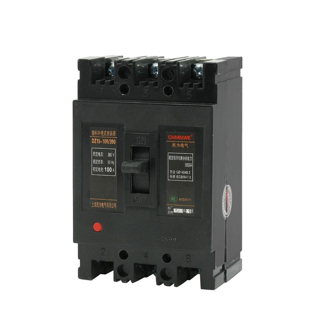 AC 380V 100A 3 Poles 3P MCCB Moulded Case Circuit Breaker DZ15-100/390