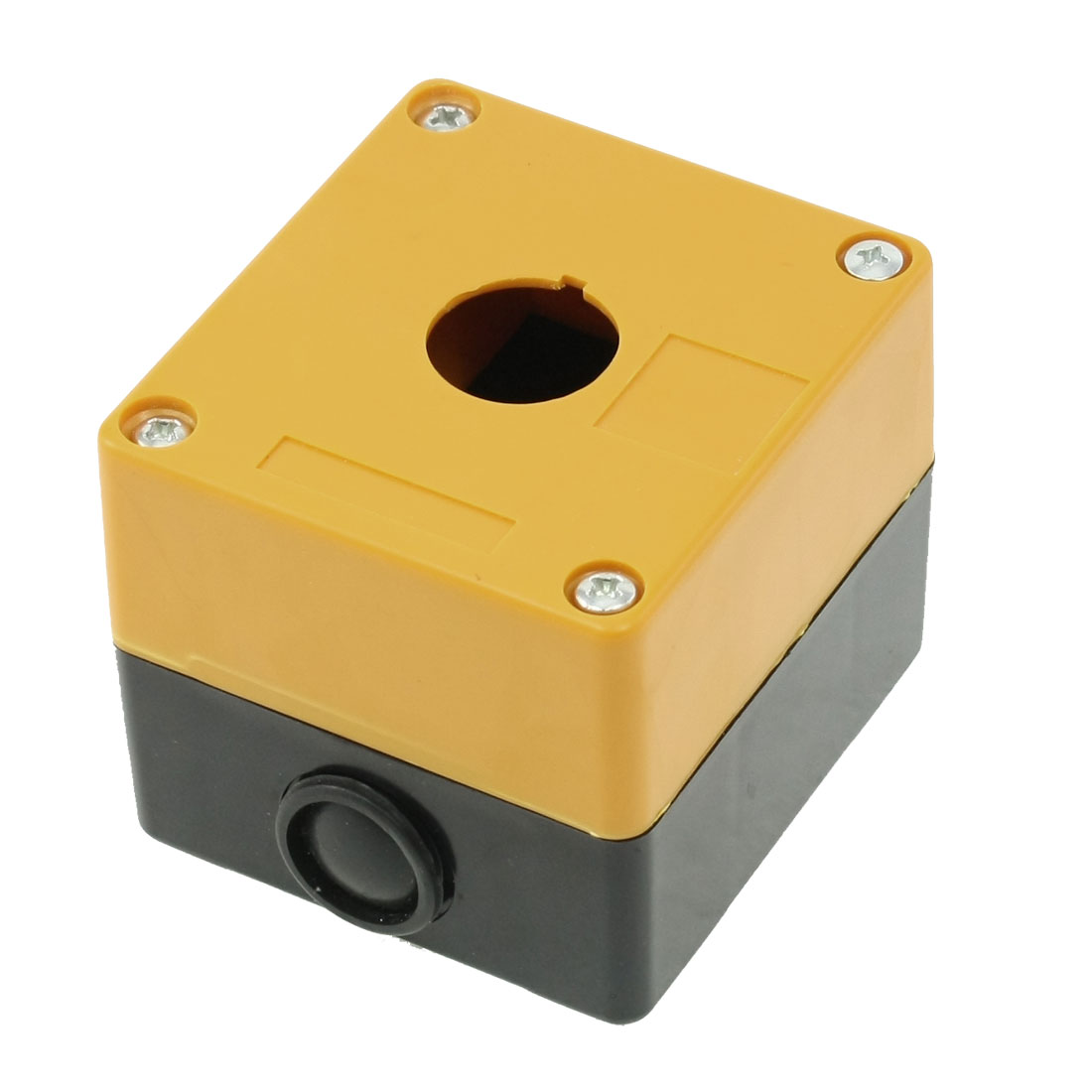 Yellow Black Plastic 22mm Hole 1 Push Button Switch Control Station Box