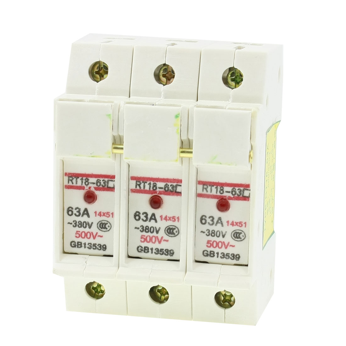 RT18-63 AC 380V 63A DIN Rail Mount 51mmx14mm 3P 3 Pole Fuse Holder w Indicator Light