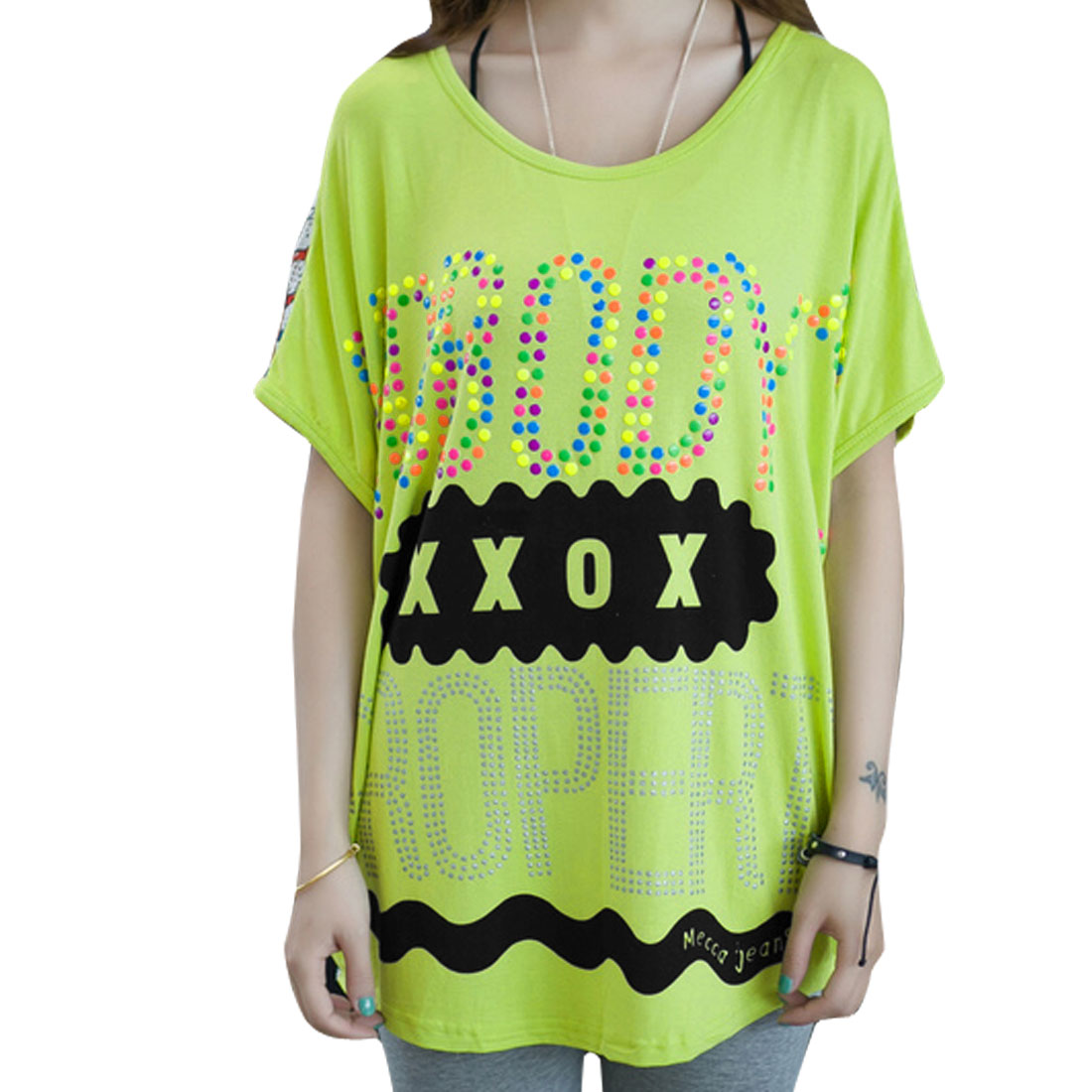 Ladies Chic Short Batwing Sleeve Studded Letters Design Apple Green Shirt M
