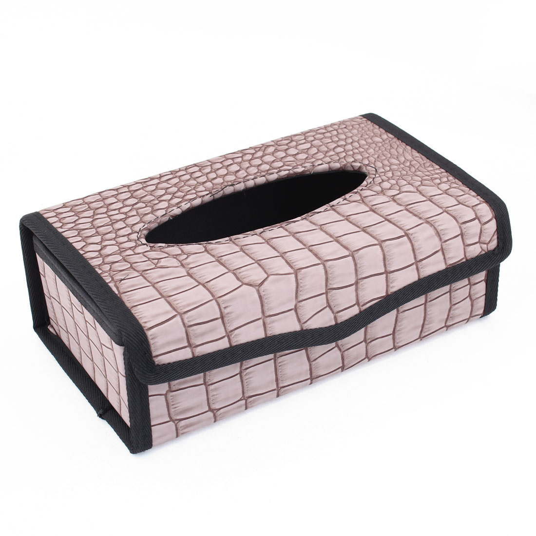 Vehicle Car Black Pale Purple Crocodile Pattern Folding Tissue Box Holder