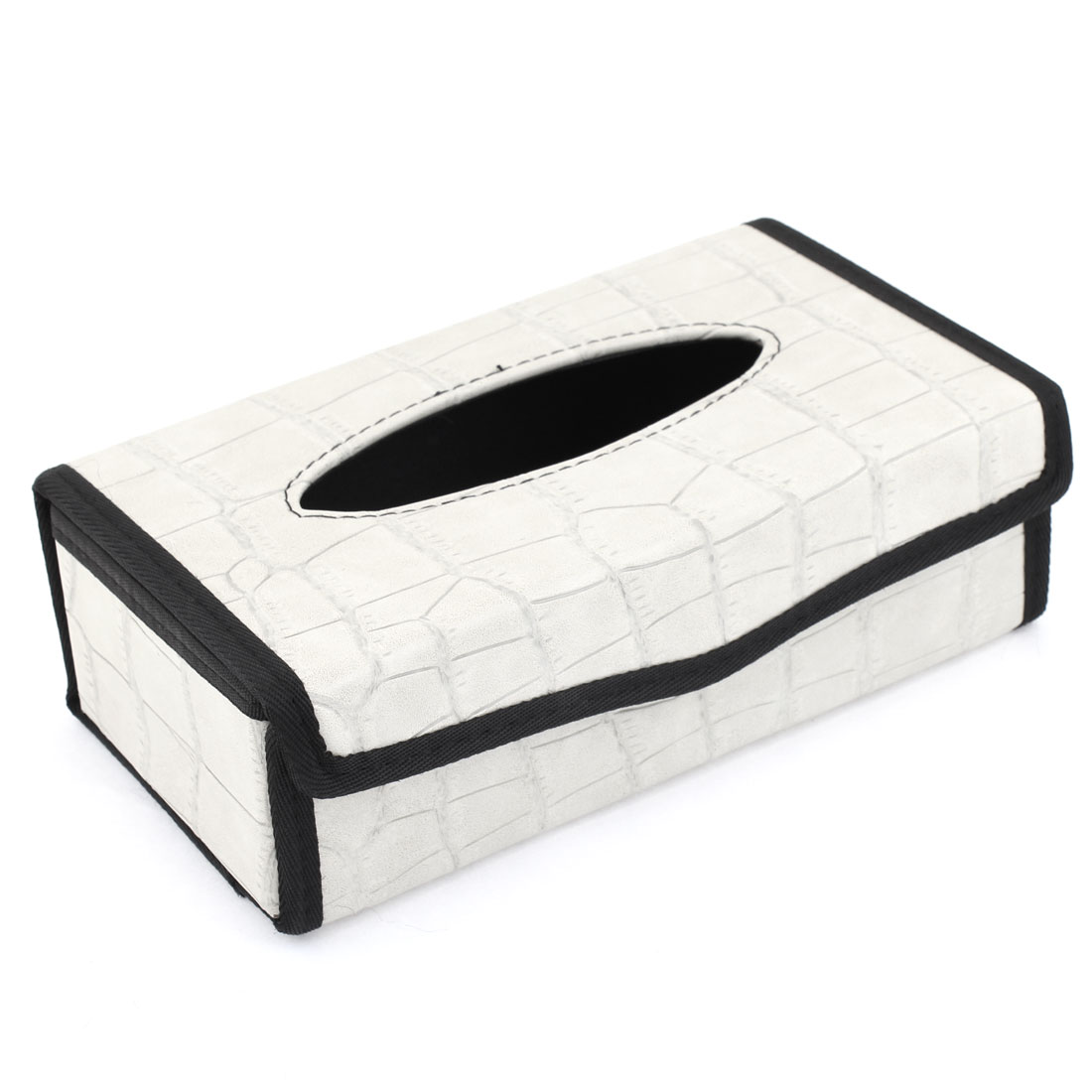 Van Car Turck Black Pale Gray Crocodile Print Paper Tissue Box Case