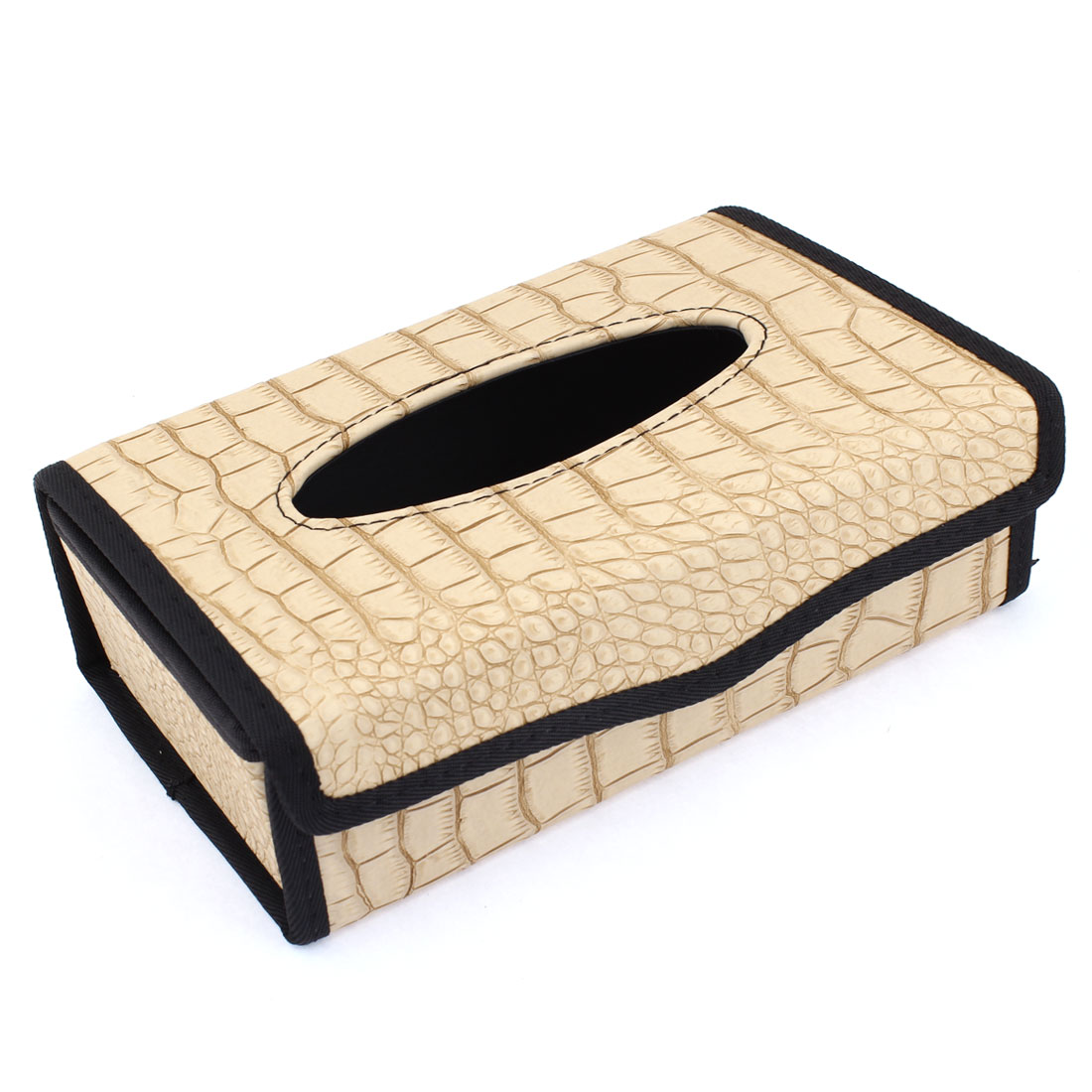 Vehicle Car Black Beige Crocodile Pattern Folding Tissue Box Holder