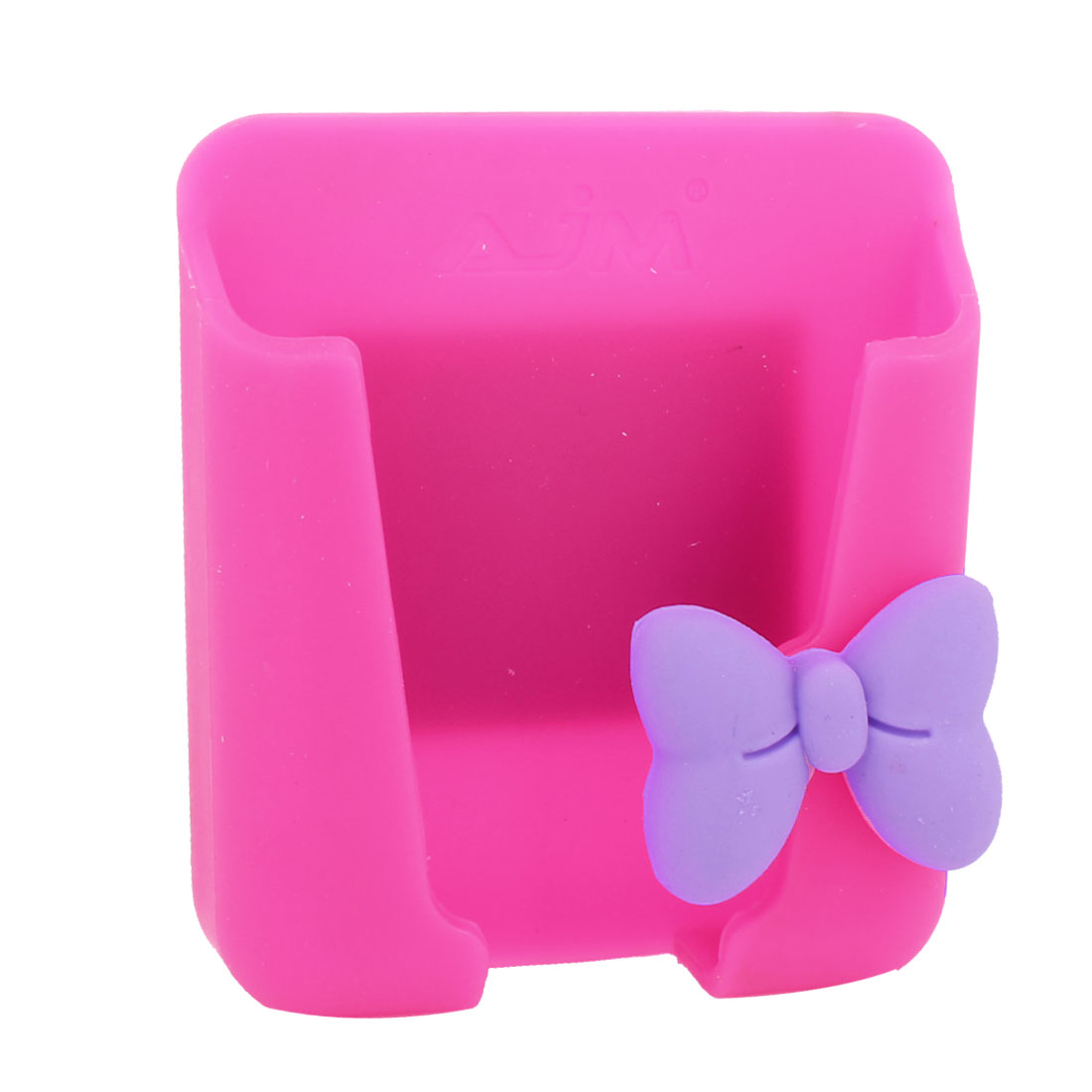 Pink Silicone Bowknot Detail Mobile Phone Card Holder for Auto Car Van