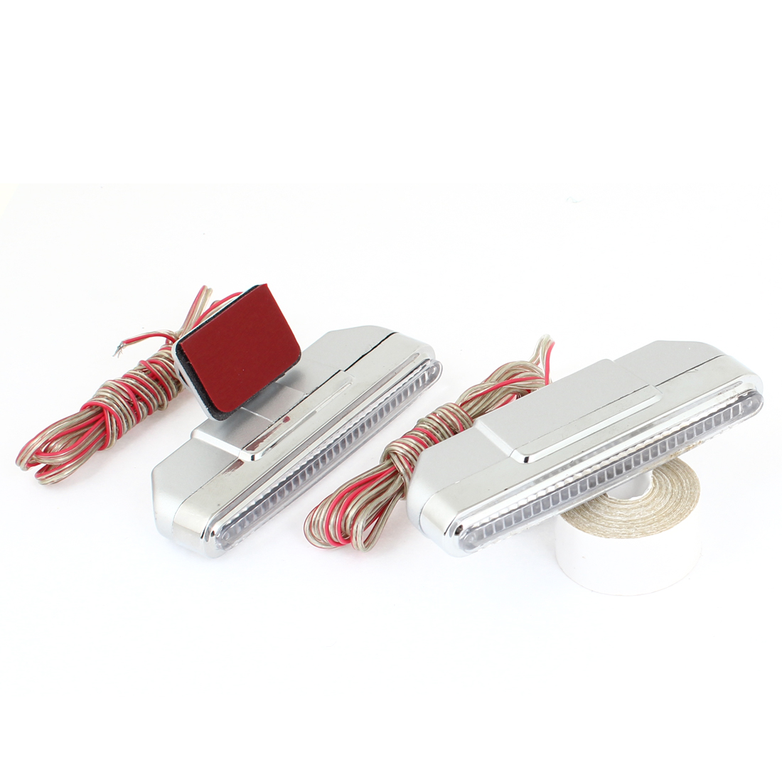 2 Pcs Car Silver Tone Gray Plastic Casing 5 Red LEDs DRL Daytime Running Light