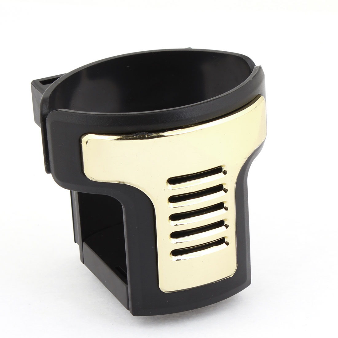 Auto Car Gold Tone Black Plastic A/C Vent Clips Drink Can Adjustable Holder
