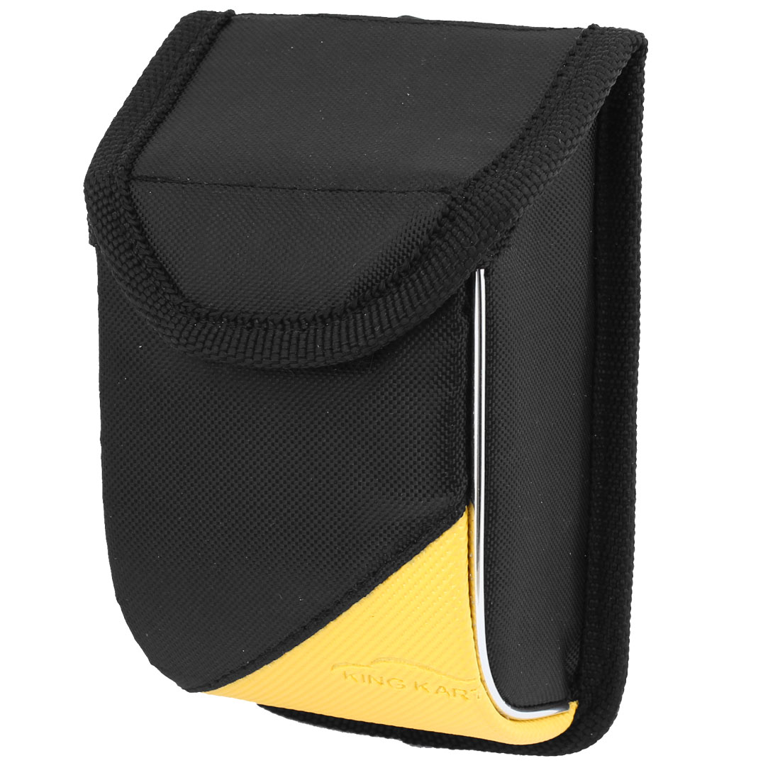 Black Yellow Faux Leather Nylon Car Air Vent Card Cell Phone Storage Bag