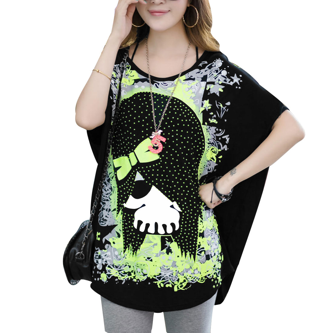 Women Skull Pattern Round Neck Batwing Sleeve Loose Tunic Shirt Black Lime L