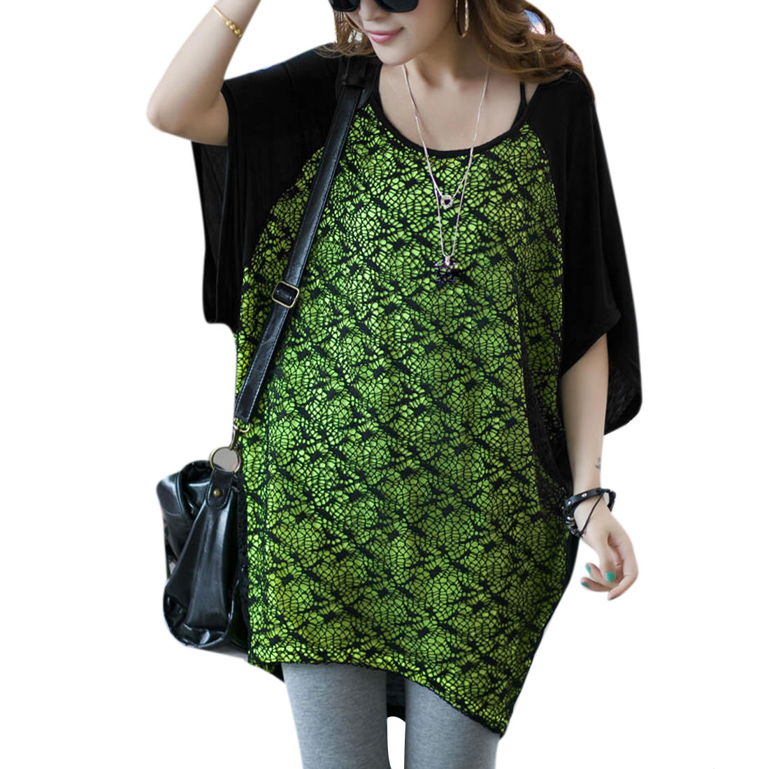 Stylish Bright Green Black Hollow Crochet Splice Front Loose Top for Lady M