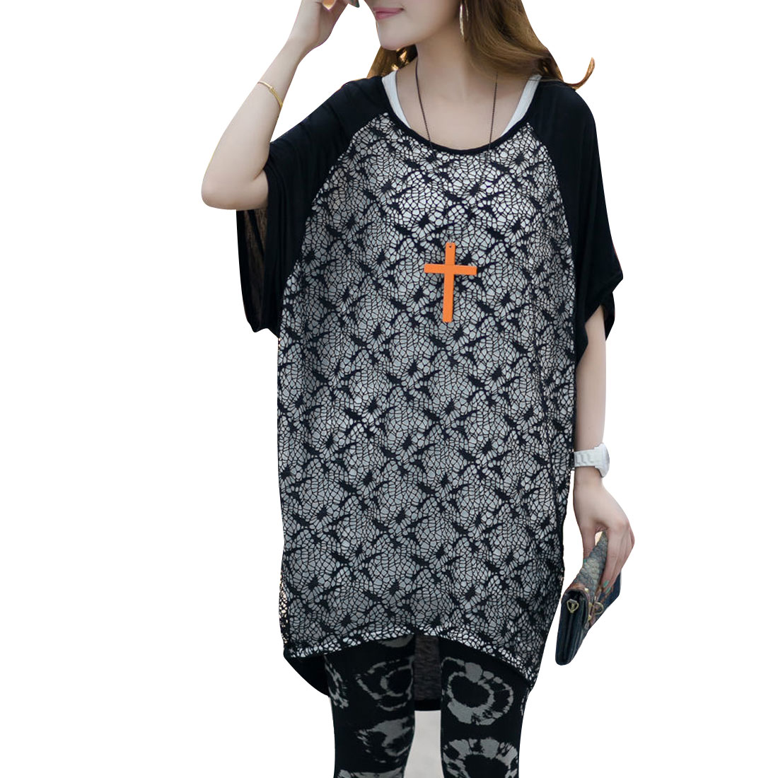 Lady Two-Tone Black White Low-High Hem Splice Front Loose Casual Shirt M
