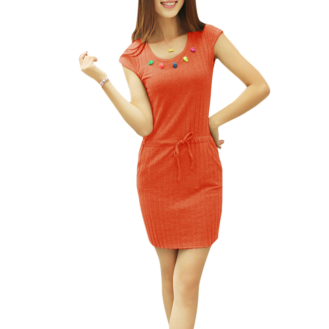 Ladies Stretchy Waist Skulls Decor Straight Chic Dress Orange-red XS