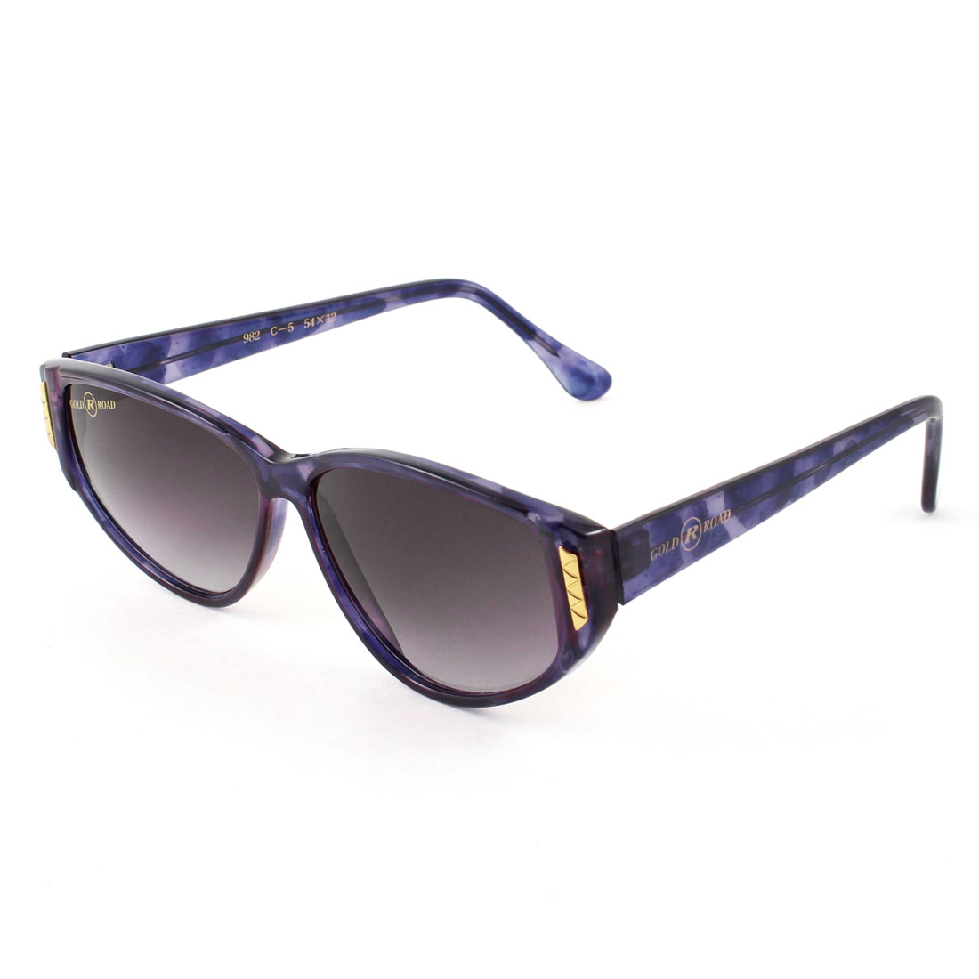 Women One Bridge Dark Purple Lens Leopard Pattern Full Rim Sunglasses Glasses