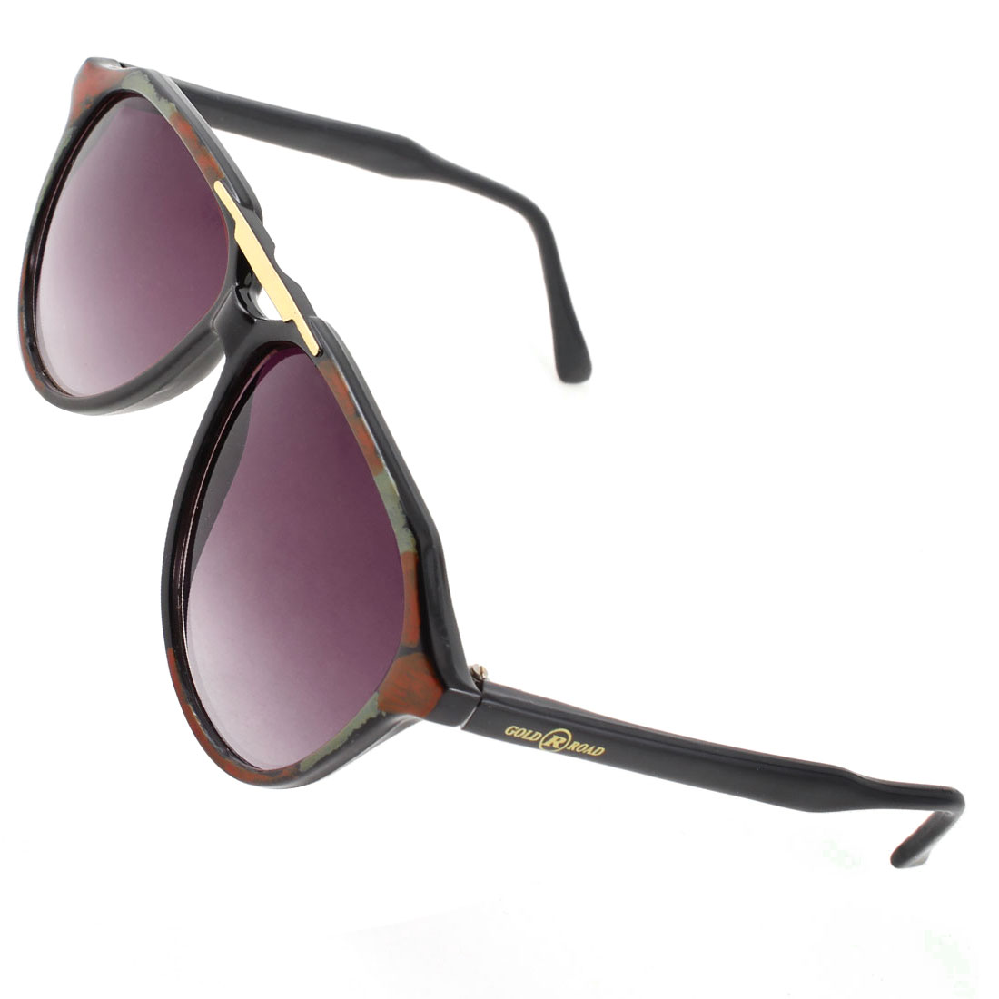 Women Black Arms Double Bridge Dark Burgundy Lenses Brown Green Rim Sunglasses