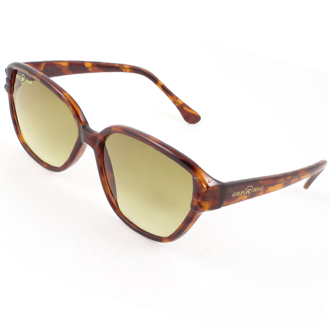 Ladies Dark Brown Lens Bowknot Leopard Pattern Full Rim One Bridge Sunglasses