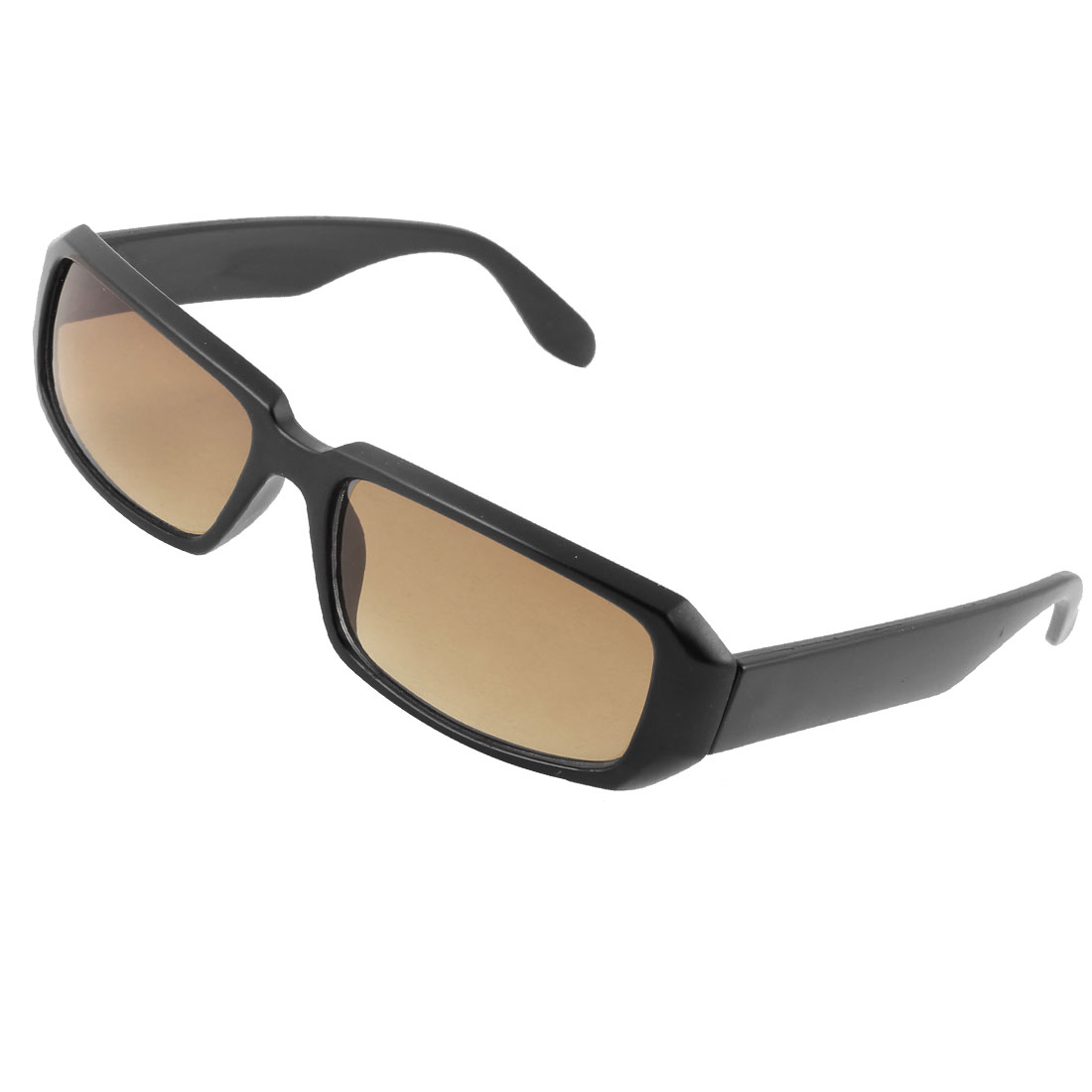 Ladies Women Outdoor Dark Brown Lens Black Rectangular Full Rim Sunglasses