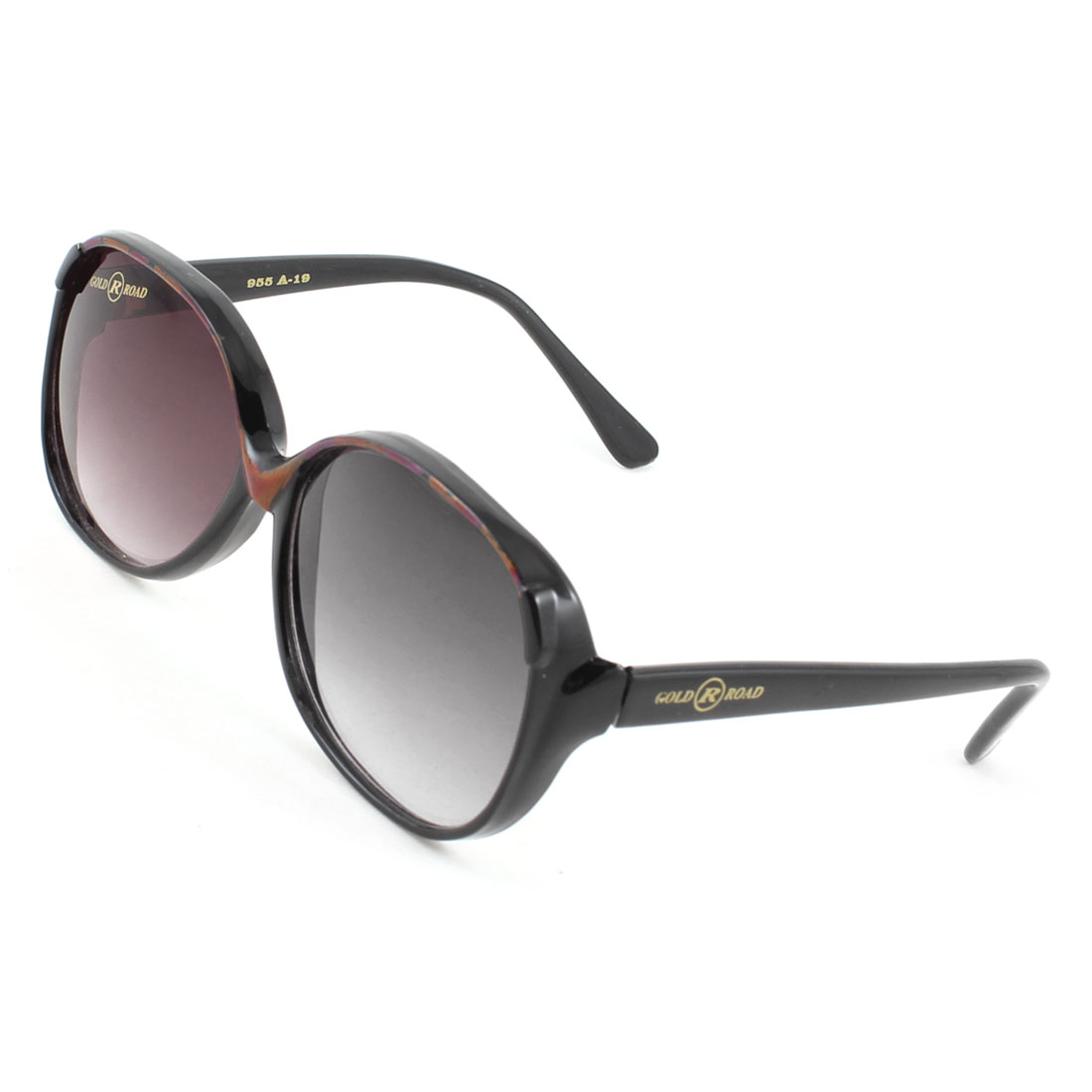 Woman Lady Single Bridge Black Arms Two Color Lens Full Frame Sunglasses