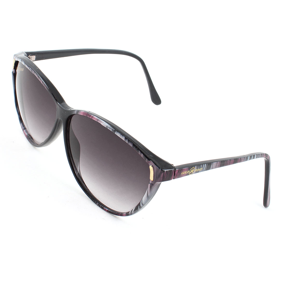 Ladies Women Fuchsia Gray Striped Plastic Full Frame Sunglasses Eyeglasses