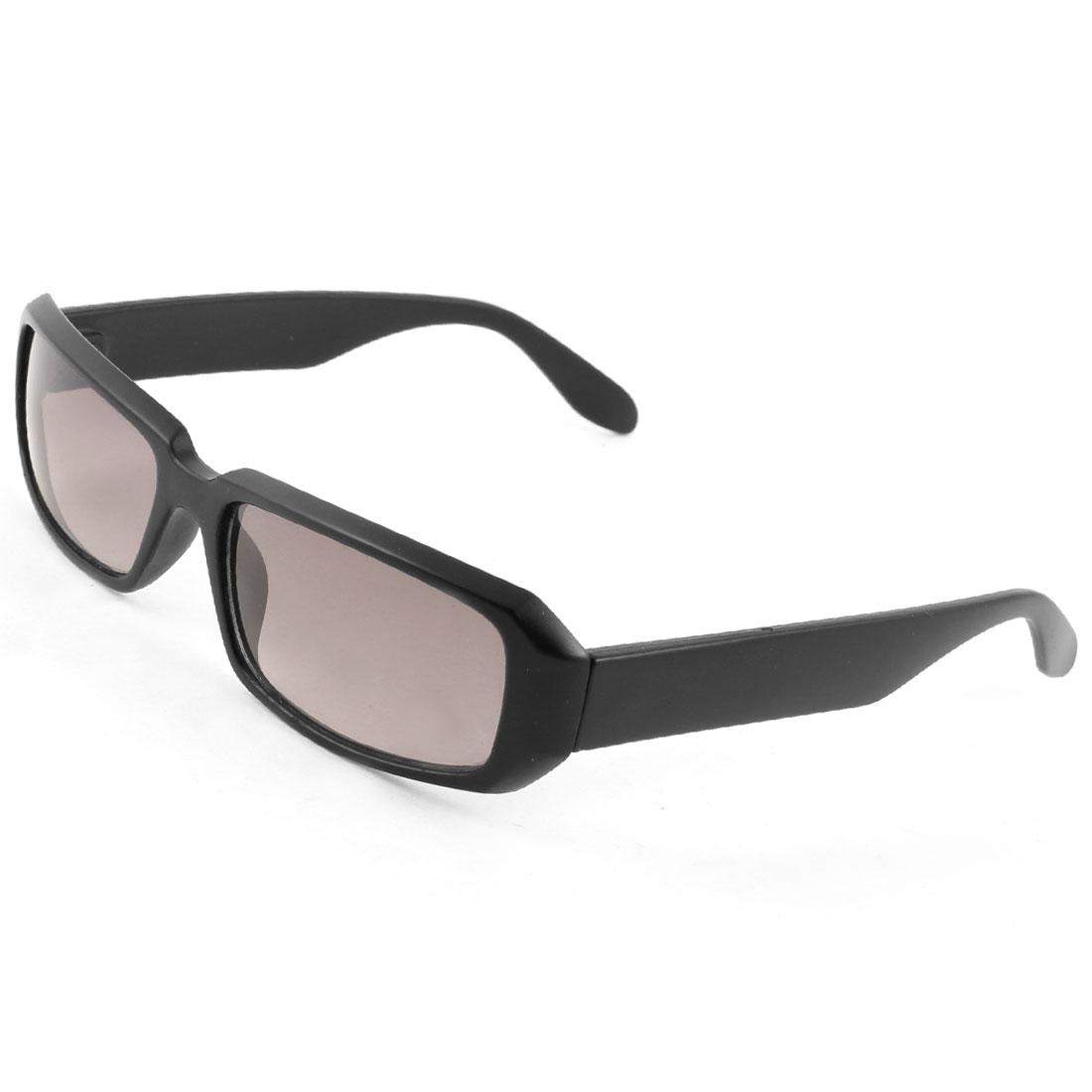Outside Rectangle Black Full Rim Wide Arm Burgundy Lens Sunglasses for Ladies