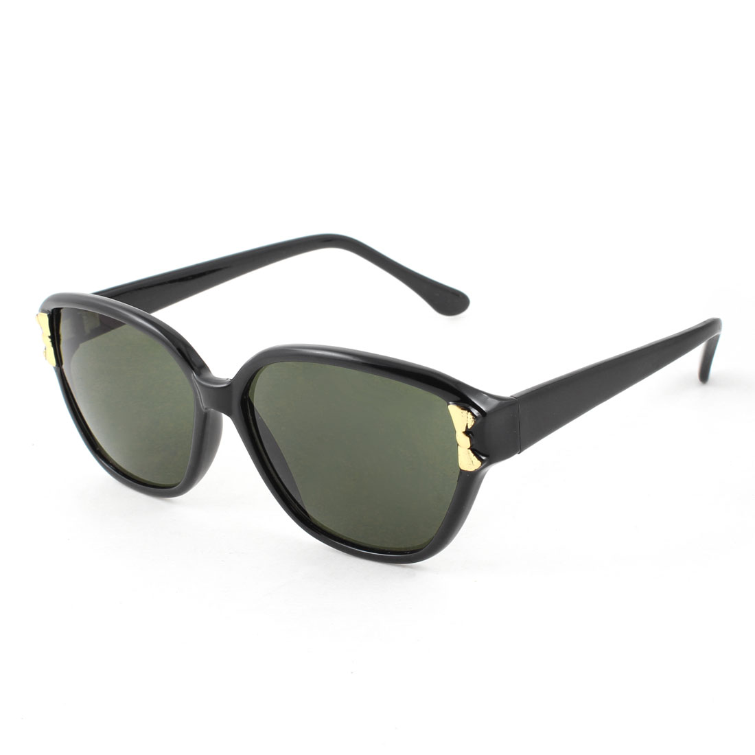 Woman Lady Single Bridge Dark Green Lens Black Arms Full Frame Sunglasses