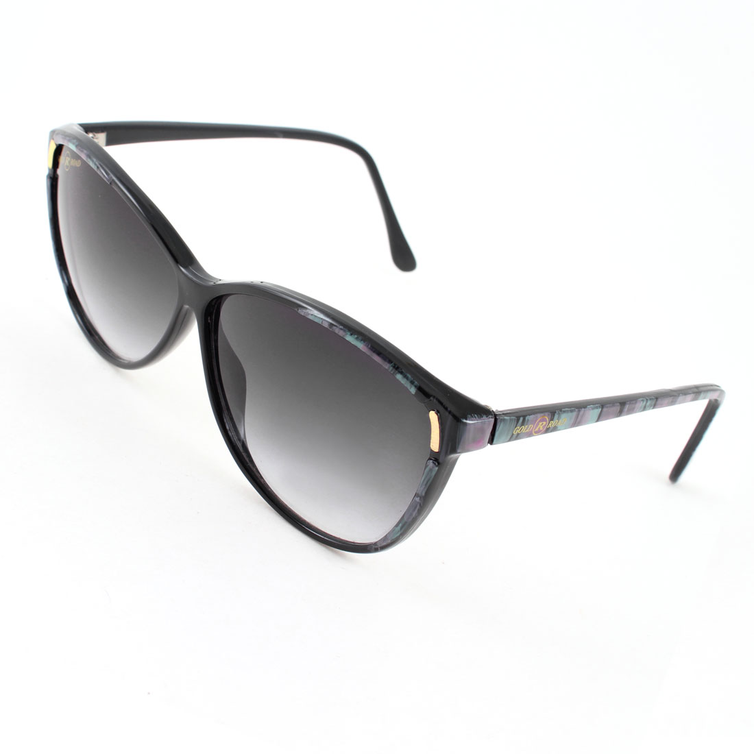 Fuchsia Teal Striped Arms Full Frame Dark Blue Lens Sunglasses for Woman Lady