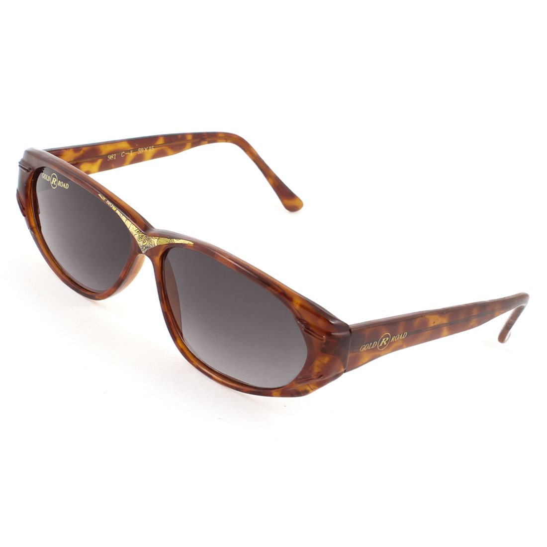 One Bridge Brown Leopard Pattern Arms Full Frame Sunglasses Glasses for Women