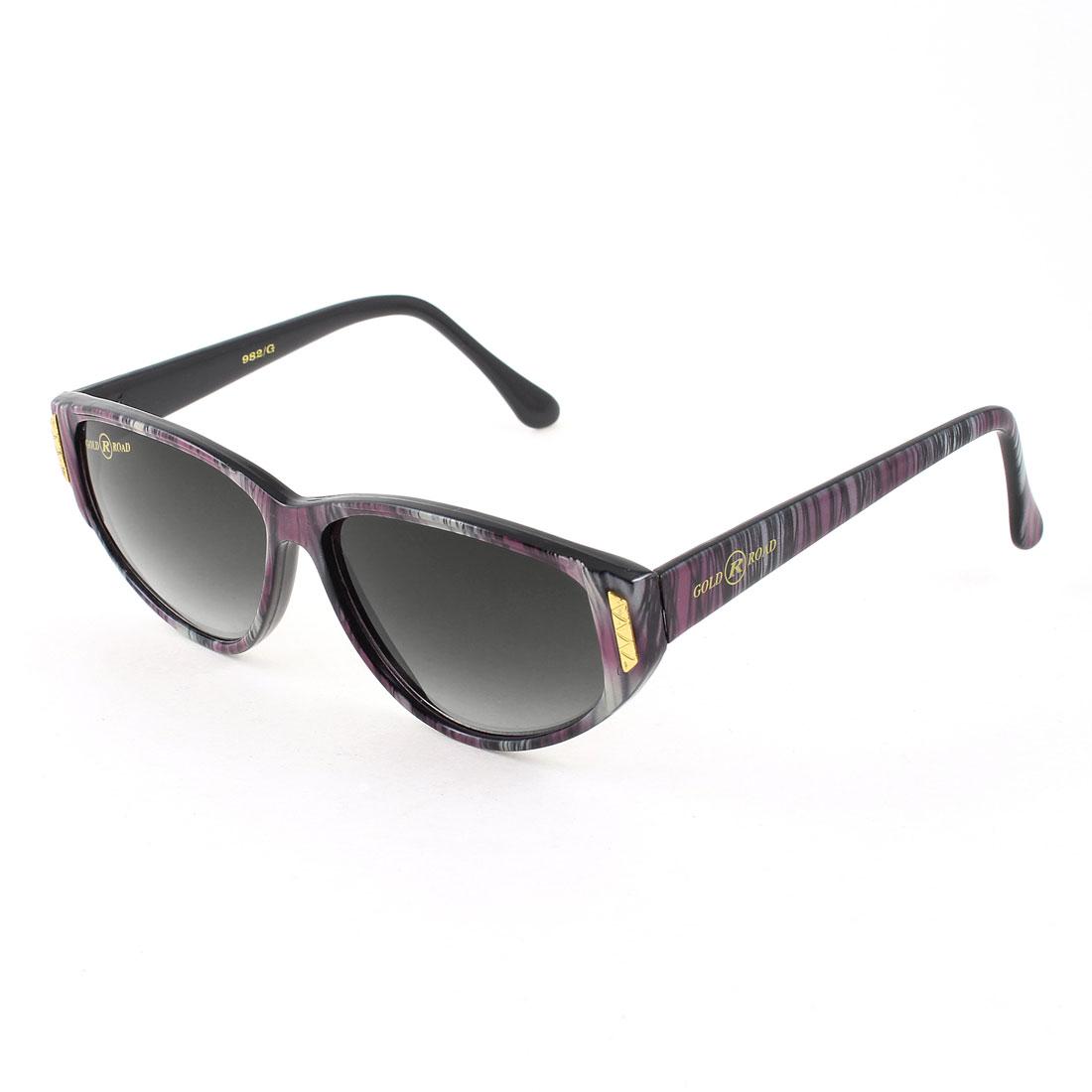 Woman Lady Single Bridge Dark Brown Lens Multicolor Stripe Arms Sunglasses