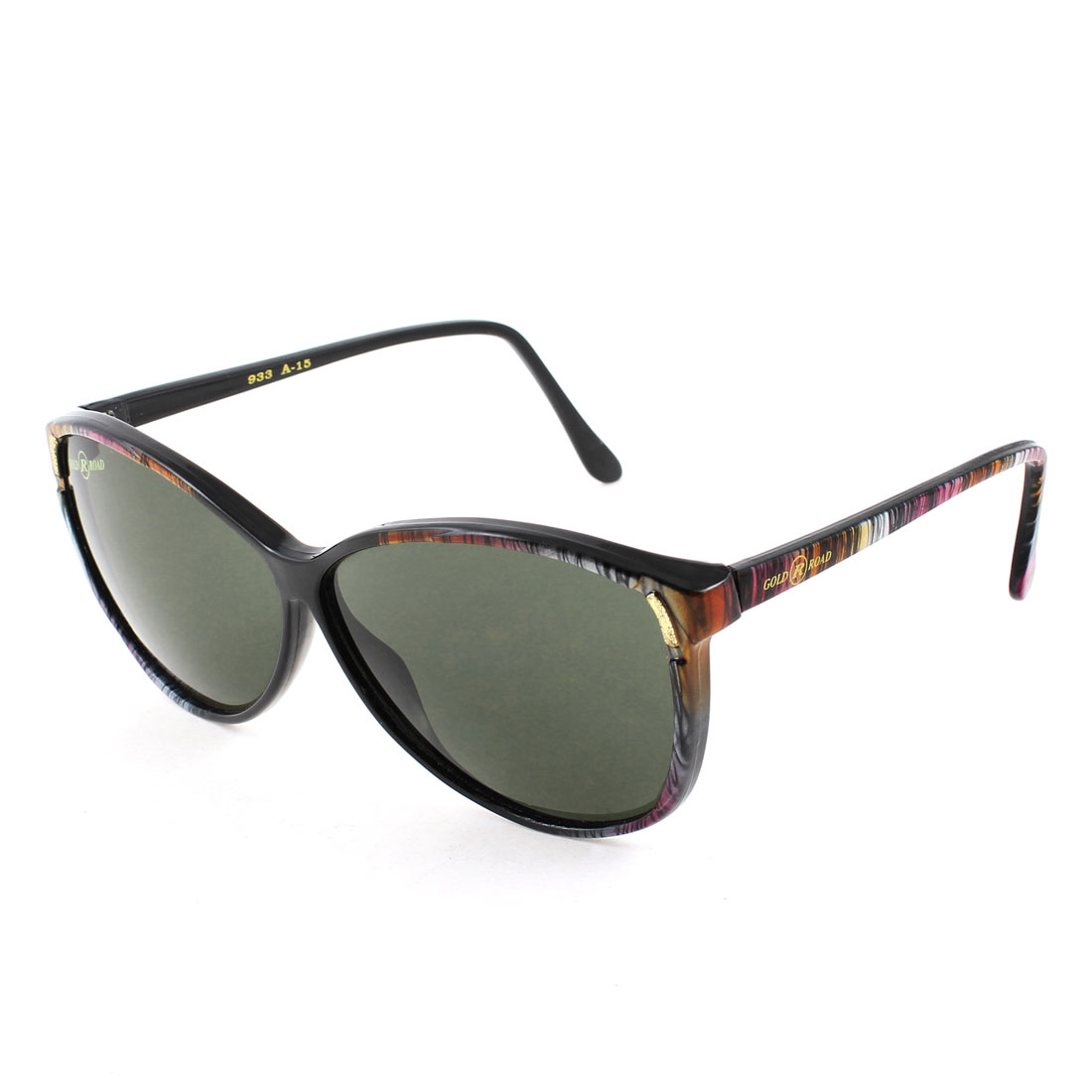 Ladies Colorful Mini Stripe Full Rim Dark Green Lens Sunglasses Eyeglasses